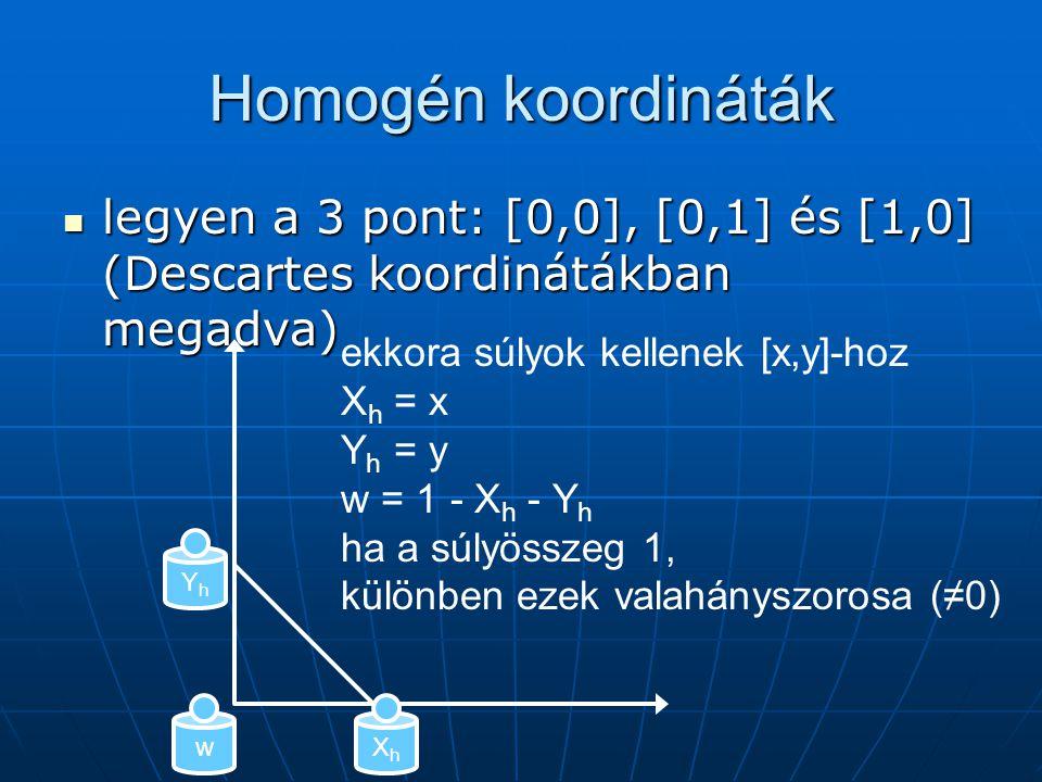 Homogén koordináták legyen a 3 pont: [0,0], [0,1] és [1,0] (Descartes koordinátákban megadva) ekkora súlyok kellenek [x,y]-hoz.